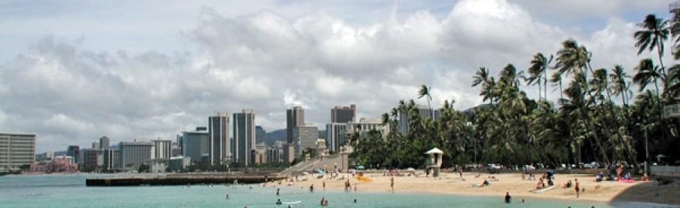 Kaimana Beach, the last local beach in Honolulu.